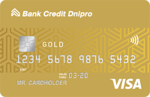 Платіжна картка БЕЗЛІМІТ GOLD Visa - від Банк Кредит Дніпро